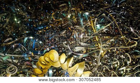 Abstract Color Background Of Metal Shavings. Processing Of Ferrous And Non-ferrous Metals In A Facto