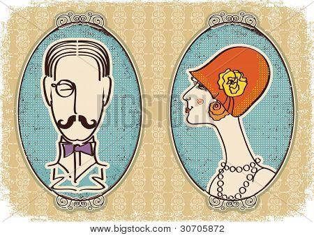 Man And Woman Portraits.vector Vintage Image