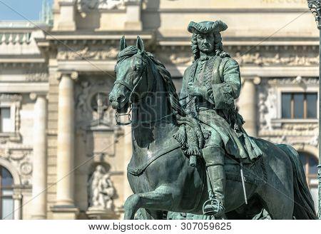 Viena, Austria - March 18, 2019: Close Up View Of Sculpture Emperor Joseph Ii In Sunny Day In Vienna