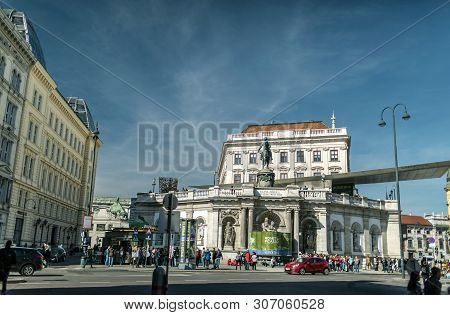 Viena, Austria - March 18, 2019: The Albertina Is A Museum In The Innere Stadt Of Vienna, Austria. A