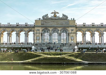 Viena, Austria - March 18, 2019: View On The Austrian Arch Near The River On The Blue Summer Sky Bac