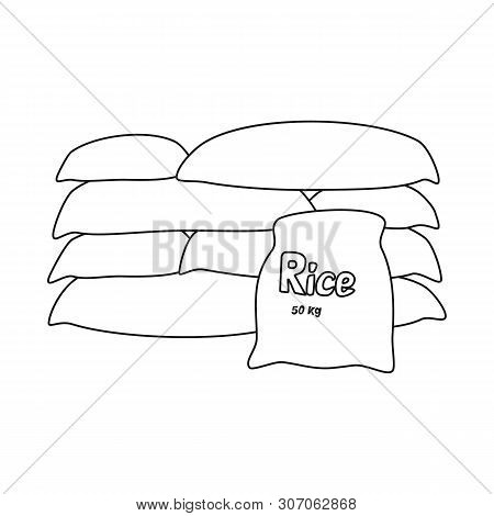 Vector Illustration Of Bag And Rice Icon. Set Of Bag And Wholesale Stock Symbol For Web.