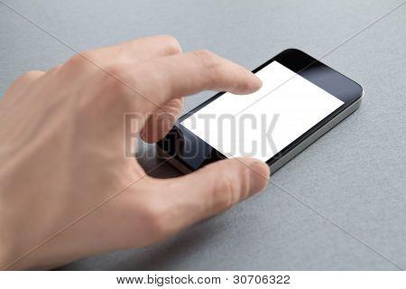 Hand berühren leere Handy