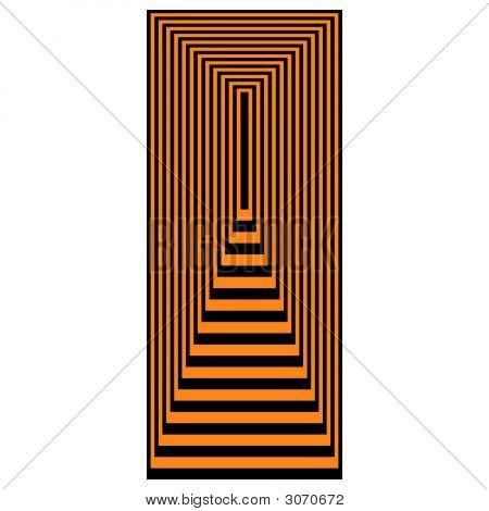 Op Art Concentric Rectangles Orange Over Black