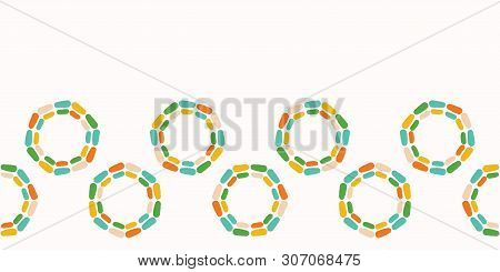 Abstract Dotty Retro Circles. Vector Pattern Seamless Border Background. Hand Drawn Style. Polka Dot