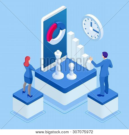 Isometric Strategy And Planning Concept. Business People Plaing With Chess Game. Strategy Developmen