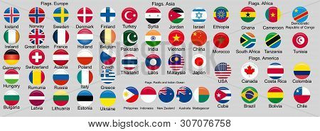 Set Of Flags Of World Sovereign States. Flags Of The World. Europe, Asia, Africa, America, Oceania