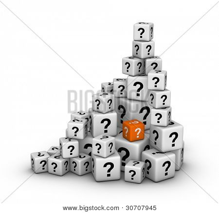 pile of big and small dices with question marks