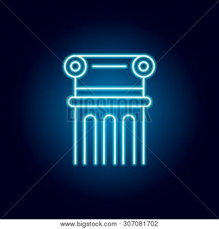 Column, Decoration, Adornment Outline Icon In Neon Style. Elements Of Education Illustration Line Ic