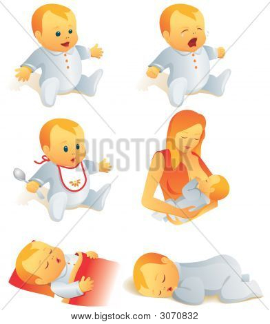Icon Set - Baby Life Scenes. Illustration