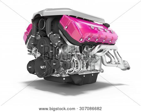 Car Engine Cast Iron Magenta With Starter Isolated 3d Render On White Background With Shadow
