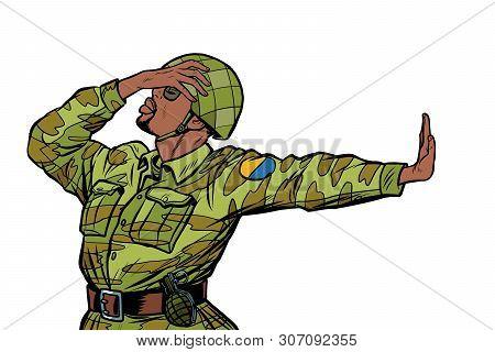 African Soldier In Uniform Shame Denial Gesture No. Anti Militarism Pacifist. Pop Art Retro Vector I
