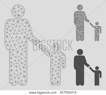 Mesh Father Child Model With Triangle Mosaic Icon. Wire Carcass Triangular Mesh Of Father Child. Vec