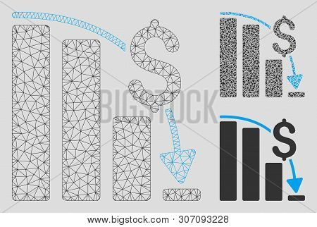 Mesh Financial Epic Fail Model With Triangle Mosaic Icon. Wire Carcass Triangular Mesh Of Financial