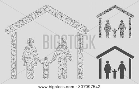 Mesh Family Cabin Model With Triangle Mosaic Icon. Wire Frame Triangular Mesh Of Family Cabin. Vecto