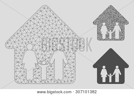 Mesh Family Home Model With Triangle Mosaic Icon. Wire Carcass Triangular Mesh Of Family Home. Vecto