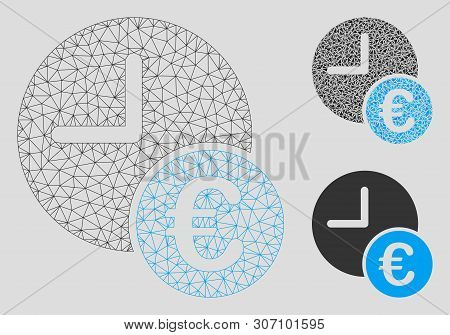 Mesh Euro Recurring Payments Model With Triangle Mosaic Icon. Wire Carcass Polygonal Mesh Of Euro Re