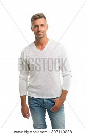 Menswear And Fashionable Clothing. Man Calm Face Posing Confidently White Background. Man Looks Hand