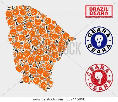 Electrical Bulb Mosaic Ceara State Map And Rubber Round Watermarks. Mosaic Vector Ceara State Map Is
