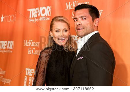 NEW YORK - JUN 17: Kelly Ripa (L) and Mark Consuelos attend the 2019 TrevorLIVE New York Gala at Cipriani Wall Street on June 17, 2019 in New York City.
