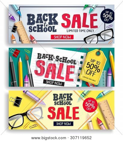 Back To School Sale Vector Web Banner Set. Sale Discount Text With Colorful Items And Elements For B