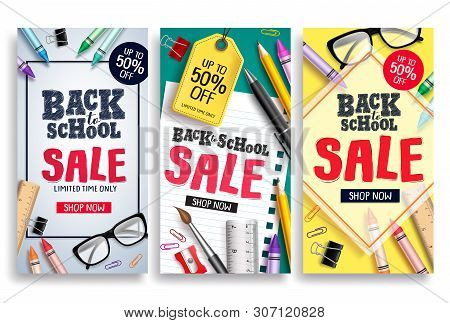 Back To School Sale Vector Poster Web Template. Sale Discount Text And School Items In Colorful Back
