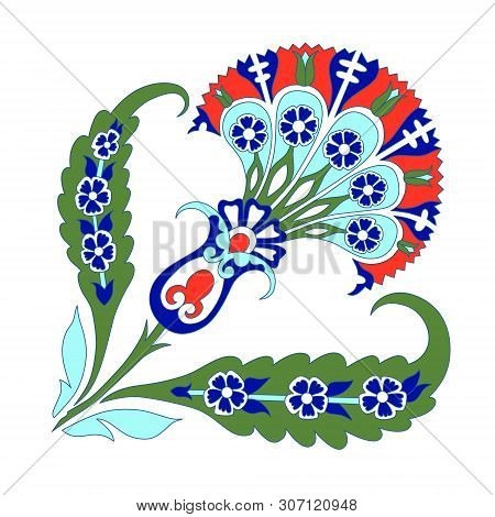 Turkish Ornament Decor Ceramic Tile, Oriental Pattern Islam