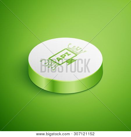 Isometric Computer Api Interface Icon Isolated On Green Background. Application Programming Interfac