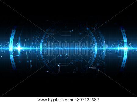Blue Light Technology Shockwave Background With Sound Wave