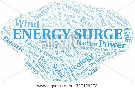 Energy Surge Word Cloud. Wordcloud Made With Text Only.