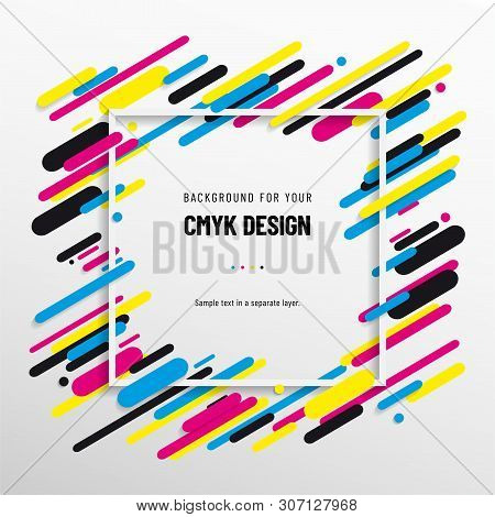 Abstract Background From Cmyk Colors With Frame For Your Text - Print Concept. Vector Illustration.