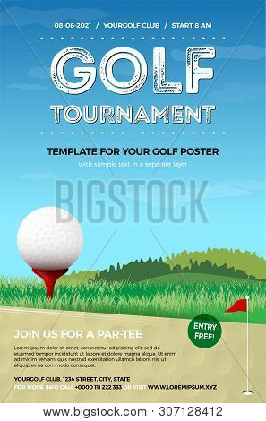 Golf Ball On Red Tee, Green Grass And Blue Sky With Clouds - Template For Your Golf Poster. Vector I