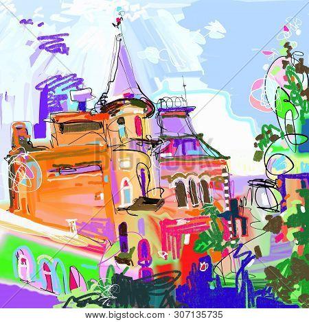 Original Digital Painting Of Kyiv Ukraine Cityscape, Urban Sketching
