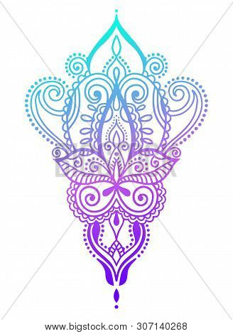 Ethnic Paisley Hand Draw Tattoo Design, Henna Mehndi Doodle Design Element