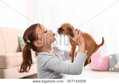 Portrait of cute girl with funny Brussels Griffon dog at home. Loyal friends poster