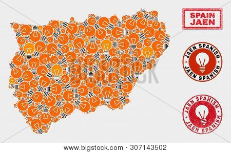 Energy Bulb Mosaic Jaen Spanish Province Map And Rubber Round Stamp Seals. Mosaic Vector Jaen Spanis