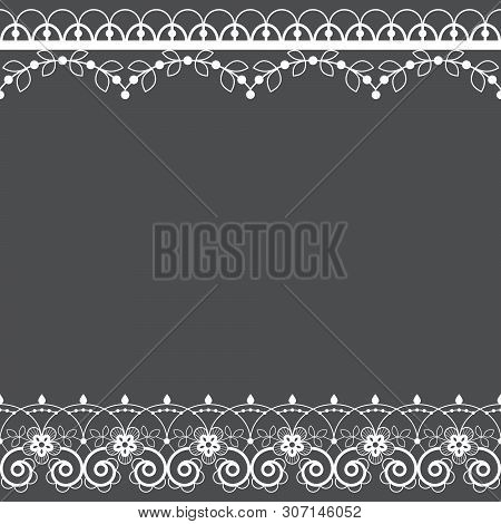 Lace pattern vector greeting card or wedding or birthday party invitation, ornamental repetitive design with flowers and swirls in white poster