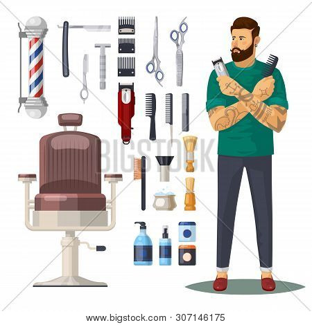 Barbershop Items Or Icons, Accessories. Man Barber Or Hipster With Beard And Mustache, Chair And Bar