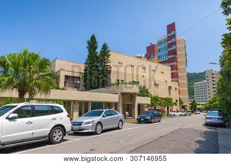 Keelung, Taiwan - September 5, 2018: Street View With Cars Parked Near Buildings Of The National Tai