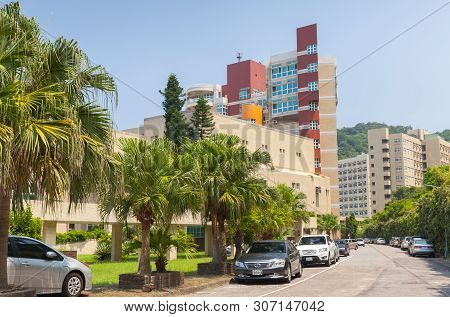 Keelung, Taiwan - September 5, 2018: Street View With Buildings Of The National Taiwan Ocean Univers