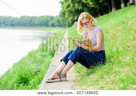 Woman Dreaming About Vacation. Literature For Summer Vacation. Rest Relax And Hobby. Summer Vacation