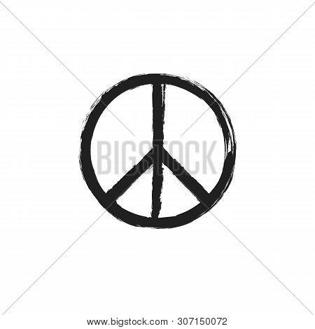 Circular Peace Sign. Hippie Symbol Black Icon.
