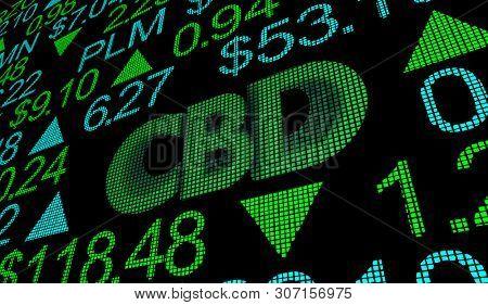 CBD Cannabidiol Hemp Marijuana Cannabis Stock Market Business Company Investment 3d Illustration