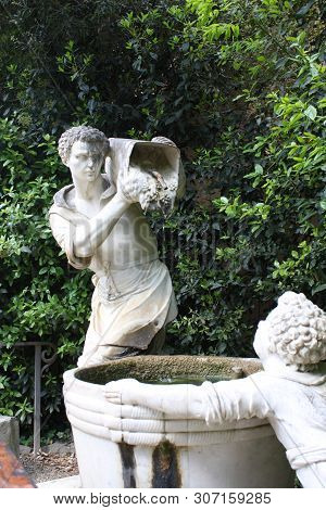 Florence, Italy. Old Boboli Gardens During A Sunny Day In Summer Season