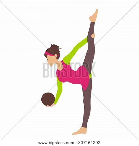 Young Girl Doing Rhytmic Gymnastics Exercises With Gymnastic Ball For Infographic Isolated On White
