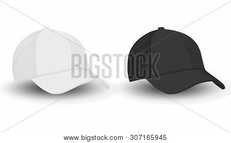 Baseball Hat. Black And White Sport Cap Mockup Set. Front View Apparel Template On White Background.