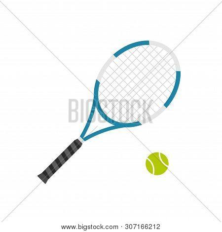 Tennis Racket With Ball Vector Illustration Flat Cartoon Design Isolated Image