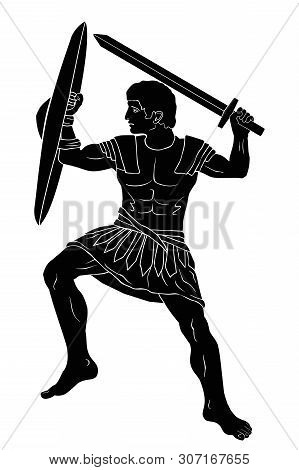 Ancient Greek Warrior With A Sword And Shield In His Hands Is Ready To Attack. Vector Illustration I