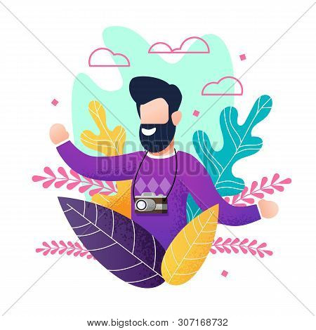 Flat Bearded Smiling Man With Camera Enjoying Summer Vacation. Cartoon Happy Male Tourist Satisfied