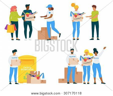 Volunteers With Clothing Donations Vector Illustrations Set. Voluntary Center Social Workers Flat Ch